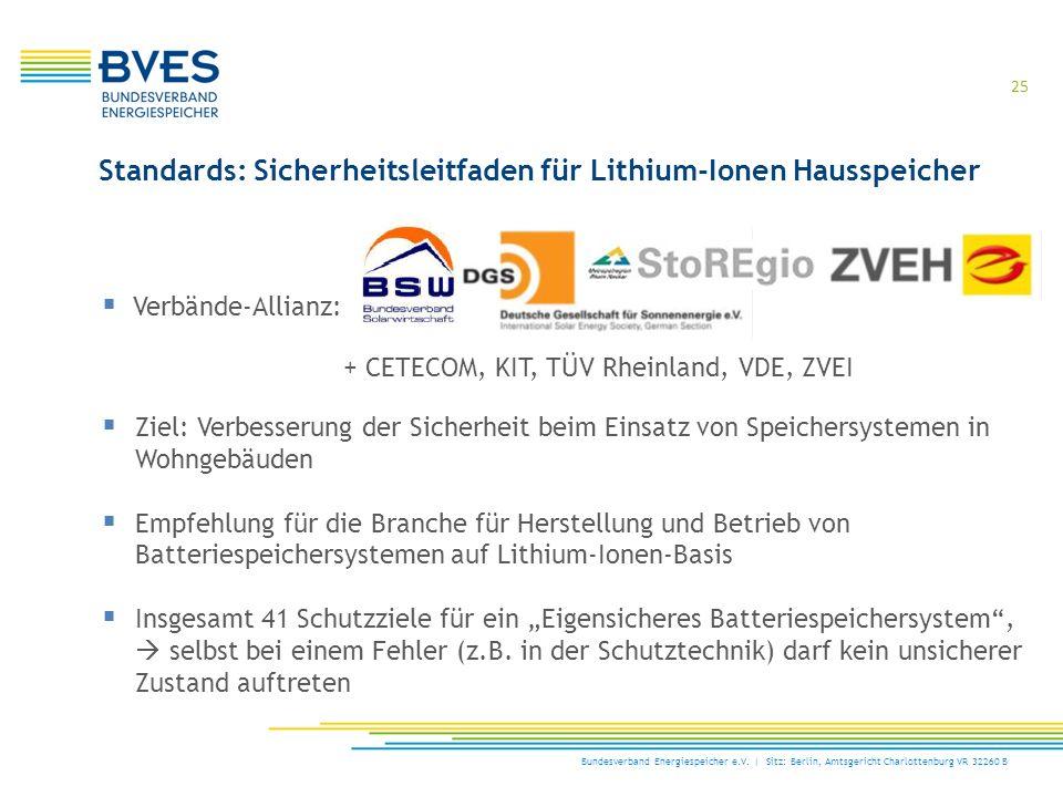 Standards: Sicherheitsleitfaden für Lithium-Ionen Hausspeicher  Verbände-Allianz: + CETECOM, KIT, TÜV Rheinland, VDE, ZVEI  Ziel: Verbesserung der S