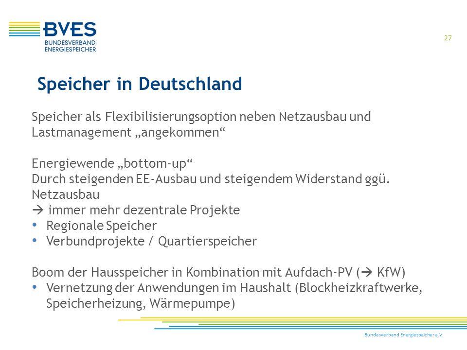 """Bundesverband Energiespeicher e.V. 27 Speicher in Deutschland Speicher als Flexibilisierungsoption neben Netzausbau und Lastmanagement """"angekommen"""" En"""