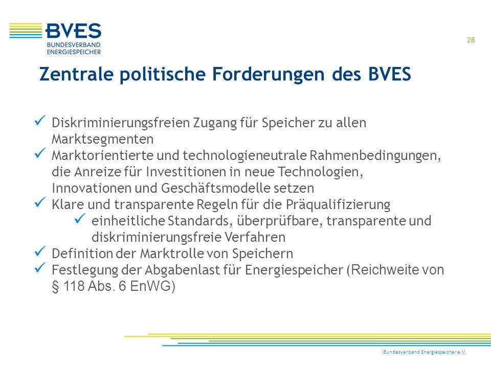 Bundesverband Energiespeicher e.V. 28 Zentrale politische Forderungen des BVES Diskriminierungsfreien Zugang für Speicher zu allen Marktsegmenten Mark