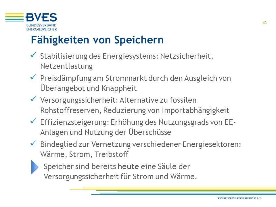 31 Bundesverband Energiespeicher e.V. Stabilisierung des Energiesystems: Netzsicherheit, Netzentlastung Preisdämpfung am Strommarkt durch den Ausgleic