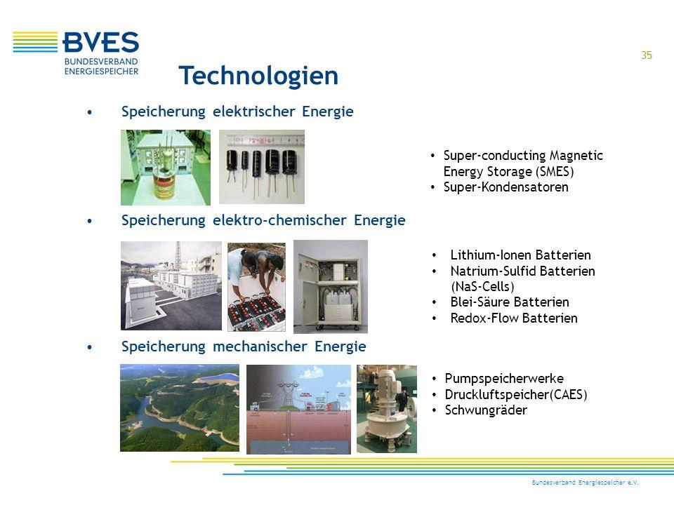 35 Bundesverband Energiespeicher e.V. Technologien Speicherung elektro-chemischer Energie Speicherung mechanischer Energie Speicherung elektrischer En