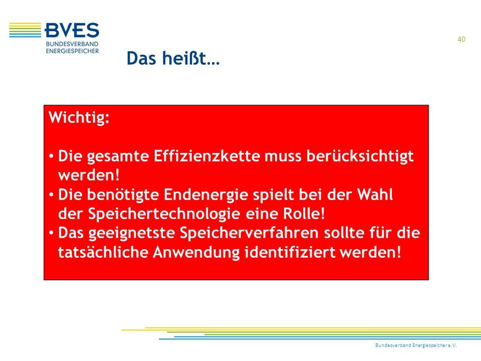 Bundesverband Energiespeicher e.V. 40 Wichtig: Die gesamte Effizienzkette muss berücksichtigt werden! Die benötigte Endenergie spielt bei der Wahl der