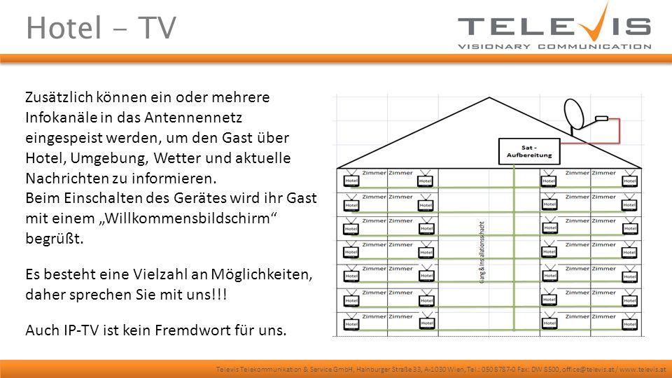 Televis Telekommunikation & Service GmbH, Hainburger Straße 33, A-1030 Wien, Tel.: 050 8787-0 Fax: DW 8500, office@televis.at / www.televis.at ENS/ELA & HiFi Televis ist vielfältig und kann auch diesen Bereich abdecken.
