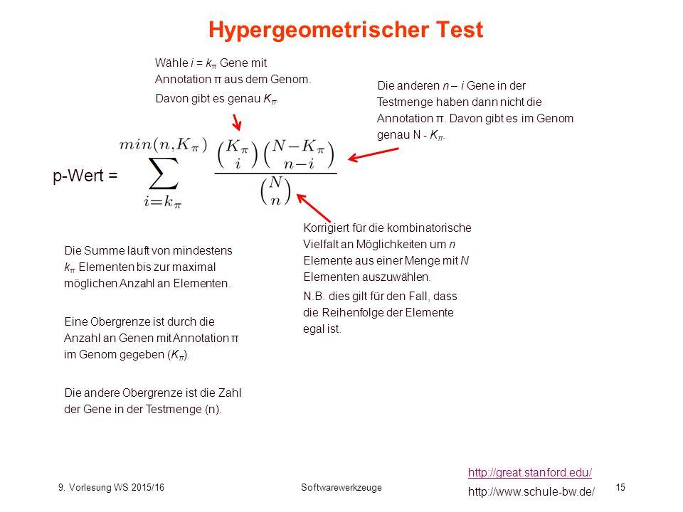 9. Vorlesung WS 2015/16Softwarewerkzeuge15 Hypergeometrischer Test http://great.stanford.edu/ http://www.schule-bw.de/ p-Wert = Korrigiert für die kom