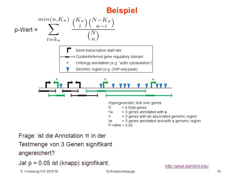 9. Vorlesung WS 2015/16Softwarewerkzeuge16 Beispiel http://great.stanford.edu/ p-Wert = Frage: ist die Annotation π in der Testmenge von 3 Genen signi