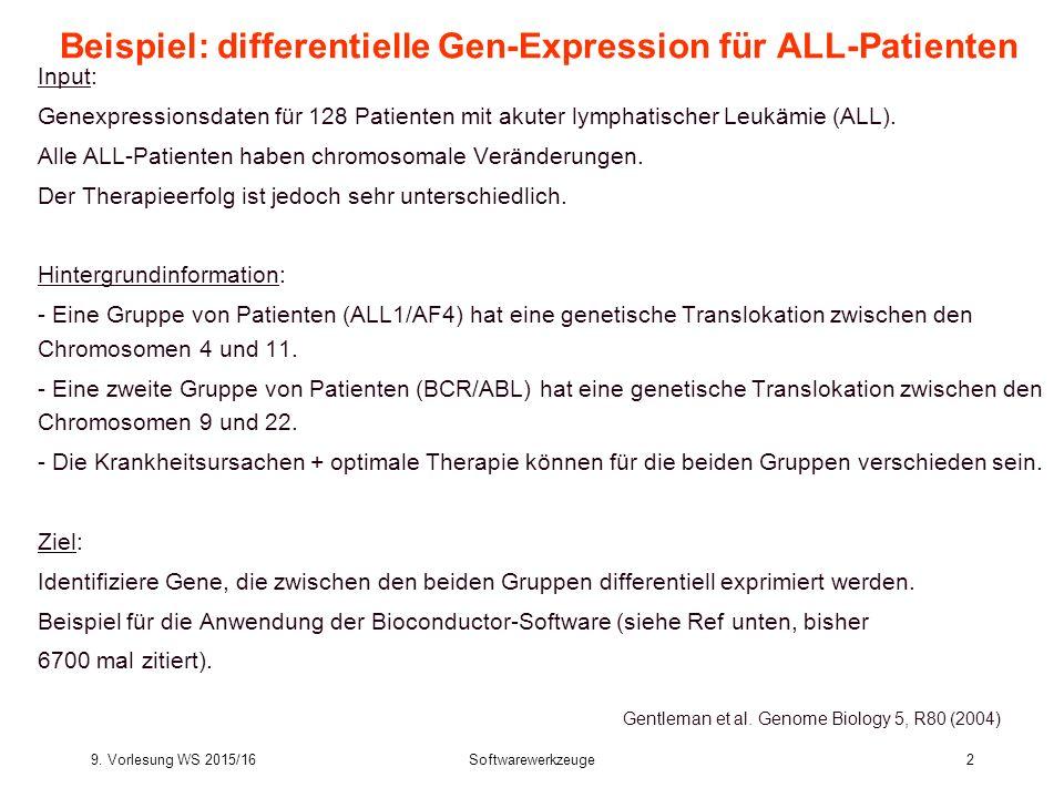 9. Vorlesung WS 2015/16Softwarewerkzeuge2 Beispiel: differentielle Gen-Expression für ALL-Patienten Input: Genexpressionsdaten für 128 Patienten mit a