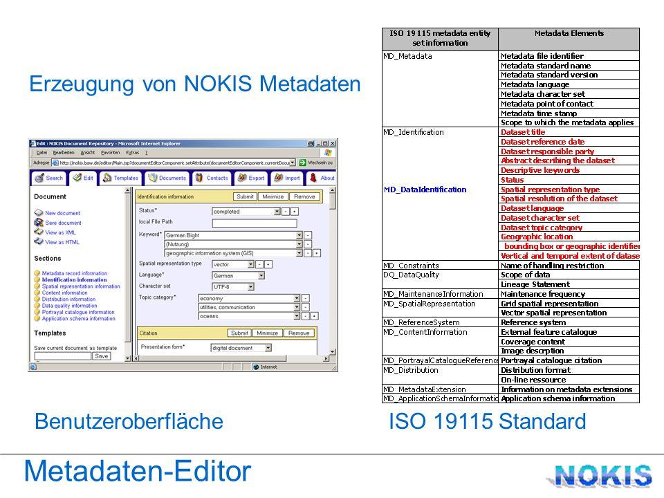ISO 19115 Standard Metadaten-Editor Benutzeroberfläche Erzeugung von NOKIS Metadaten
