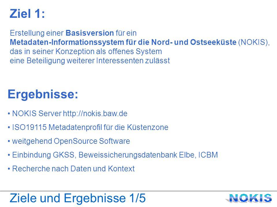 Ziele und Ergebnisse 1/5 Ziel 1: Erstellung einer Basisversion für ein Metadaten-Informationssystem für die Nord- und Ostseeküste (NOKIS), das in seiner Konzeption als offenes System eine Beteiligung weiterer Interessenten zulässt Ergebnisse: NOKIS Server http://nokis.baw.de ISO19115 Metadatenprofil für die Küstenzone weitgehend OpenSource Software Einbindung GKSS, Beweissicherungsdatenbank Elbe, ICBM Recherche nach Daten und Kontext