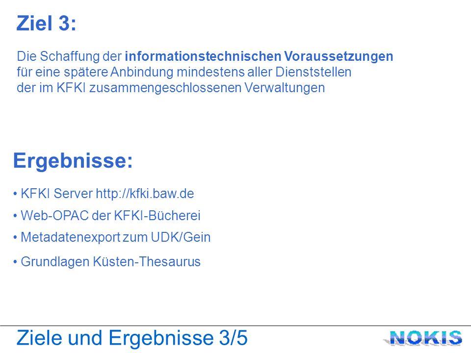 Ziele und Ergebnisse 4/5 Ziel 4: um damit die Kommunikation und den Informations- und Datenaustausch innerhalb der deutschen Küstenforschung zu ermöglichen und zu intensivieren Ergebnisse: Import-/Export-Schnittstellen zu ESRI Datenbank für Projekte aus der Küstenforschung Datenbank für Die Küste Exemplarische Webservices Suchen-Finden-Nutzen Diskussionsforum