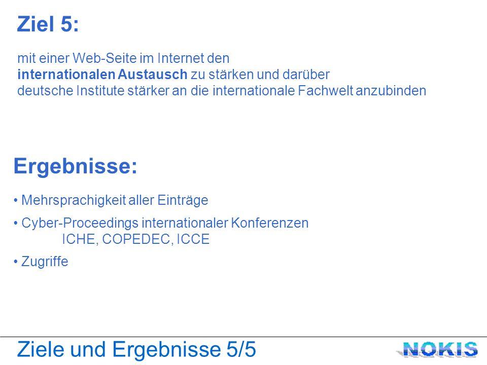 Ziele und Ergebnisse 5/5 Ziel 5: mit einer Web-Seite im Internet den internationalen Austausch zu stärken und darüber deutsche Institute stärker an die internationale Fachwelt anzubinden Ergebnisse: Mehrsprachigkeit aller Einträge Cyber-Proceedings internationaler Konferenzen ICHE, COPEDEC, ICCE Zugriffe