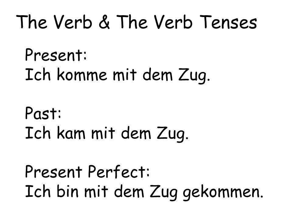 Present: Ich komme mit dem Zug. Past: Ich kam mit dem Zug. Present Perfect: Ich bin mit dem Zug gekommen. The Verb & The Verb Tenses