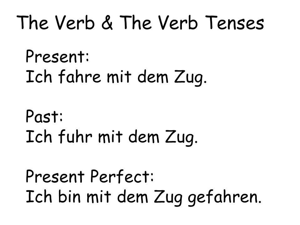 Present: Ich fahre mit dem Zug. Past: Ich fuhr mit dem Zug. Present Perfect: Ich bin mit dem Zug gefahren. The Verb & The Verb Tenses