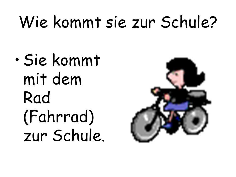 Wie kommt sie zur Schule? Sie kommt mit dem Rad (Fahrrad) zur Schule.