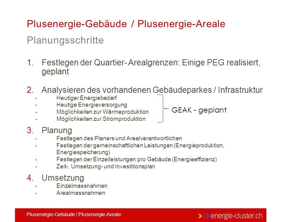 1.Festlegen der Quartier- Arealgrenzen: Einige PEG realisiert, geplant 2.Analysieren des vorhandenen Gebäudeparkes / Infrastruktur Heutiger Energiebed