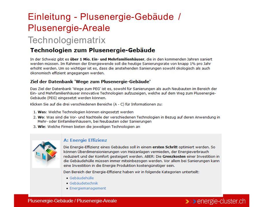 Einleitung - Plusenergie-Gebäude / Plusenergie-Areale Technologiematrix Plusenergie-Gebäude / Plusenergie-Areale