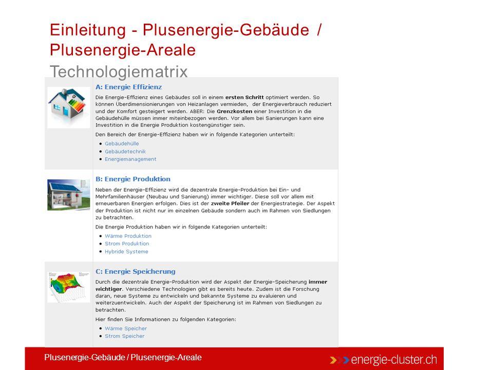 Technologiematrix Einleitung - Plusenergie-Gebäude / Plusenergie-Areale