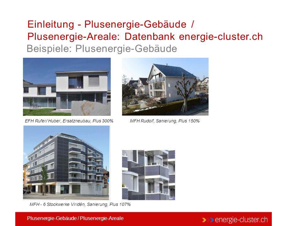 Einleitung - Plusenergie-Gebäude / Plusenergie-Areale: Datenbank energie-cluster.ch Beispiele: Plusenergie-Gebäude MFH - 6 Stockwerke Viridén, Sanierung, Plus 107% EFH Rufer/ Huber, Ersatzneubau, Plus 300% MFH Rudolf, Sanierung, Plus 150% Plusenergie-Gebäude / Plusenergie-Areale