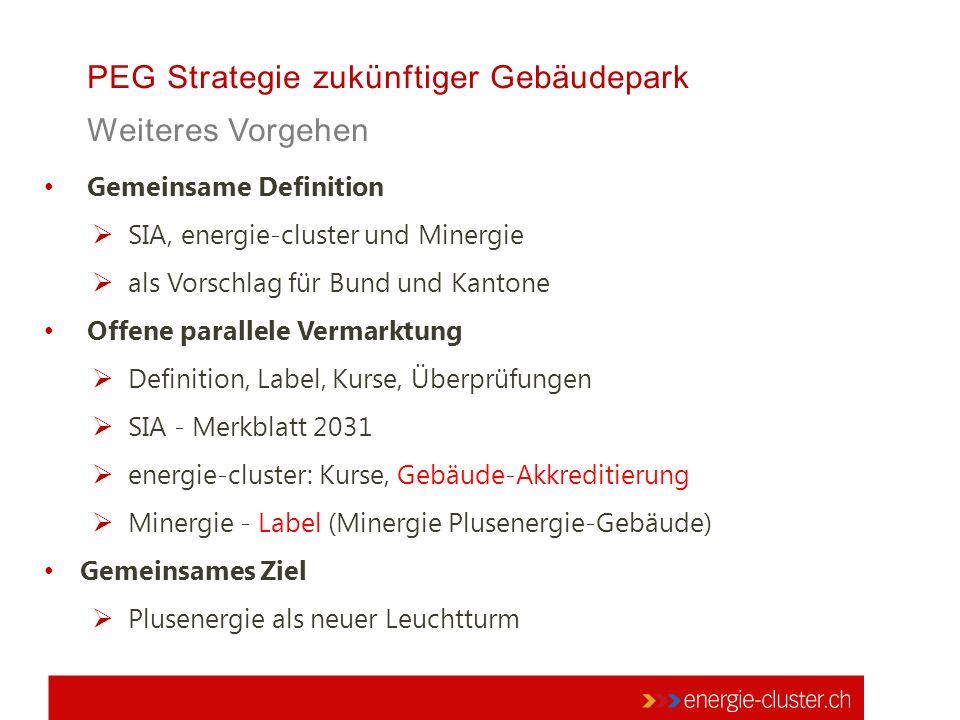 PEG Strategie zukünftiger Gebäudepark Weiteres Vorgehen Gemeinsame Definition  SIA, energie-cluster und Minergie  als Vorschlag für Bund und Kantone