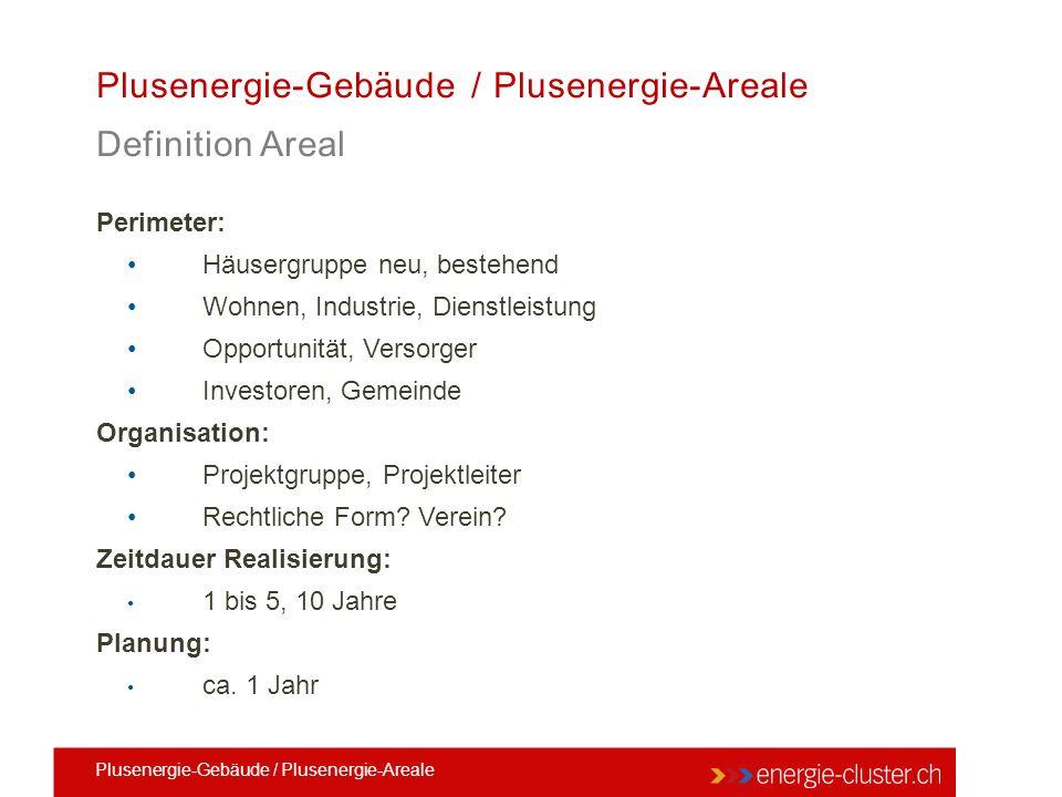 Plusenergie-Gebäude / Plusenergie-Areale Definition Areal Perimeter: Häusergruppe neu, bestehend Wohnen, Industrie, Dienstleistung Opportunität, Verso
