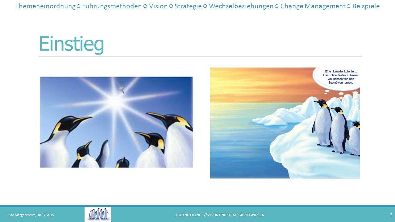 Themeneinordnung 8-Phasen-Modell von Kotter Bad Mergentheim, 18.12.2015LEADING CHANGE // VISION UND STRATEGIE ENTWICKELN 3 Create a sense of urgency Build a guiding coalition Form a strategic vision and initiatives Enlist a volunteer army Enable action by removing barriers Generate short-term wins Sustain acceleration Institute change Shape a vision to help steer the change effort and develop strategic initiatives to achieve that vision Themeneinordnung ○ Führungsmethoden ○ Vision ○ Strategie ○ Wechselbeziehungen ○ Change Management ○ Beispiele