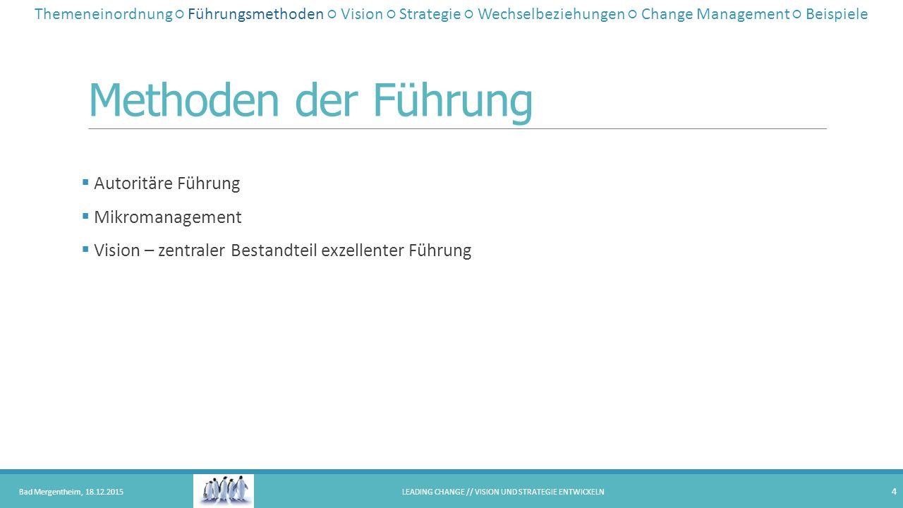Methoden der Führung  Autoritäre Führung  Mikromanagement  Vision – zentraler Bestandteil exzellenter Führung Bad Mergentheim, 18.12.2015LEADING CH