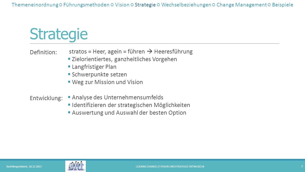 Strategie Definition: Entwicklung: stratos = Heer, agein = führen  Heeresführung  Zielorientiertes, ganzheitliches Vorgehen  Langfristiger Plan  S