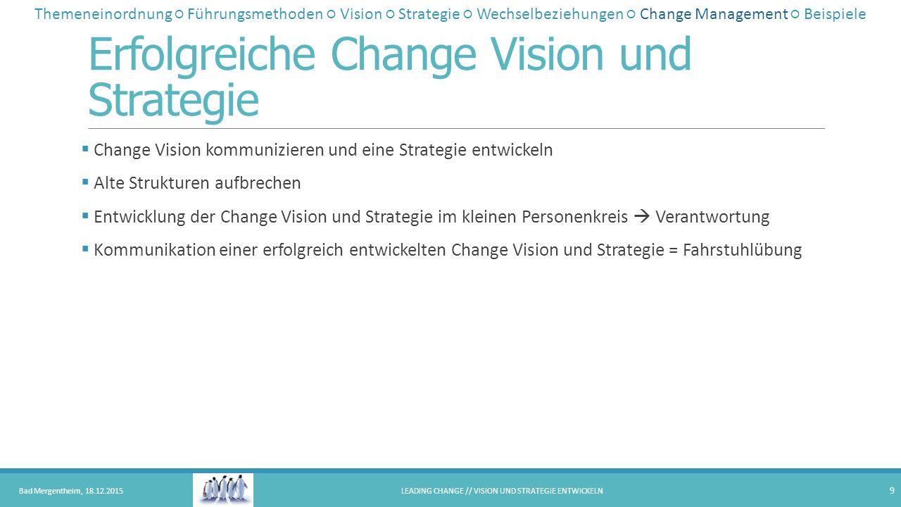Erfolgreiche Change Vision und Strategie  Change Vision kommunizieren und eine Strategie entwickeln  Alte Strukturen aufbrechen  Entwicklung der Ch
