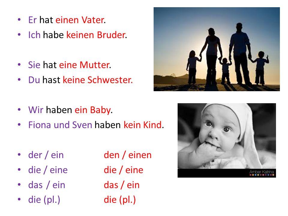 Er hat einen Vater. Ich habe keinen Bruder. Sie hat eine Mutter. Du hast keine Schwester. Wir haben ein Baby. Fiona und Sven haben kein Kind. der / ei