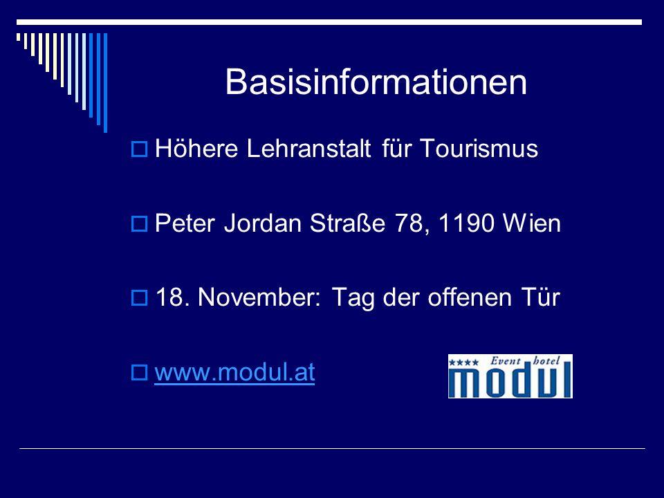 Basisinformationen  Höhere Lehranstalt für Tourismus  Peter Jordan Straße 78, 1190 Wien  18.