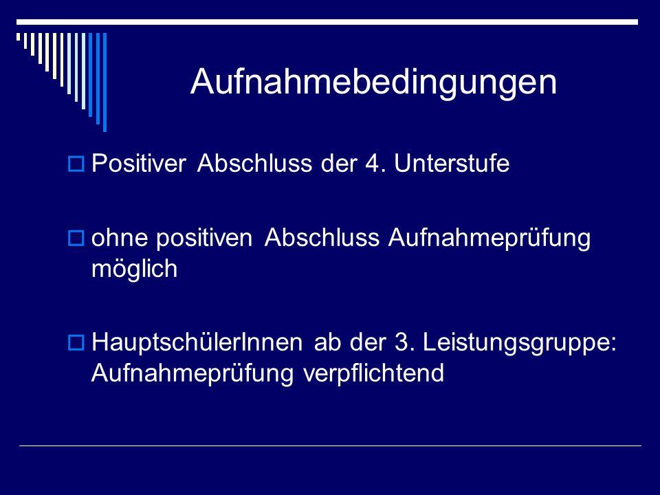 Aufnahmebedingungen  Positiver Abschluss der 4.