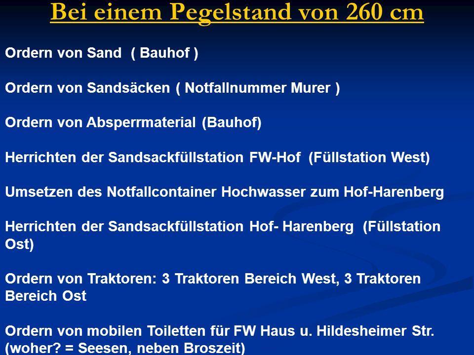 Ordern von Sand ( Bauhof ) Ordern von Sandsäcken ( Notfallnummer Murer ) Ordern von Absperrmaterial (Bauhof) Herrichten der Sandsackfüllstation FW-Hof
