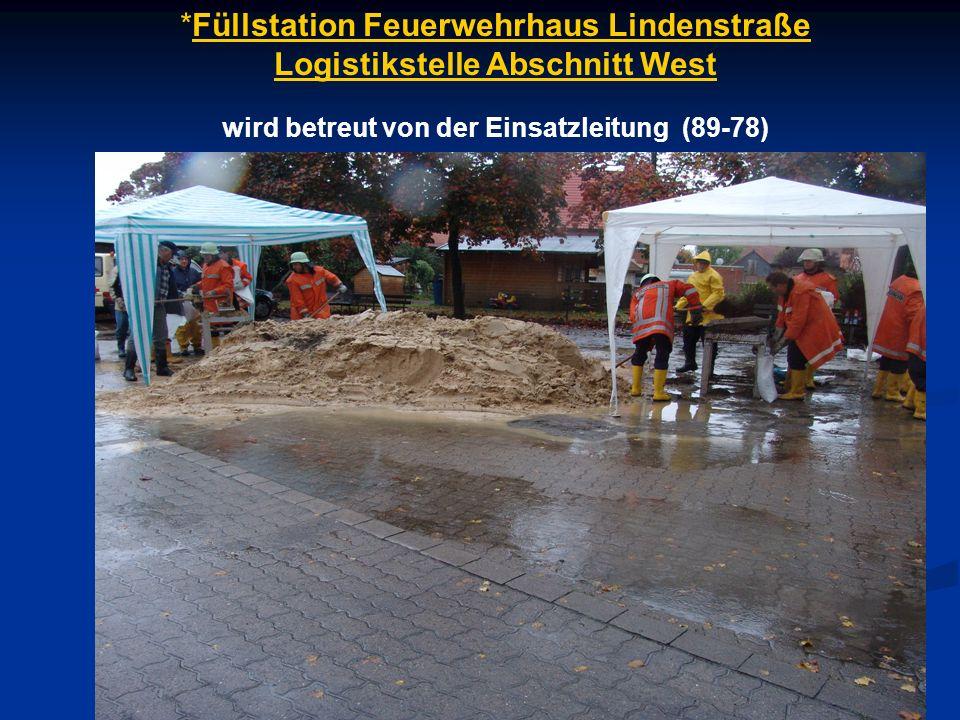 *Füllstation Feuerwehrhaus Lindenstraße Logistikstelle Abschnitt West wird betreut von der Einsatzleitung (89-78)