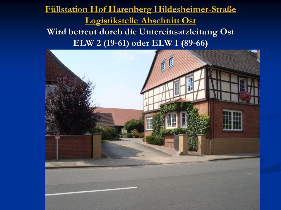 Füllstation Hof Harenberg Hildesheimer-Straße Logistikstelle Abschnitt Ost Wird betreut durch die Untereinsatzleitung Ost ELW 2 (19-61) oder ELW 1 (89