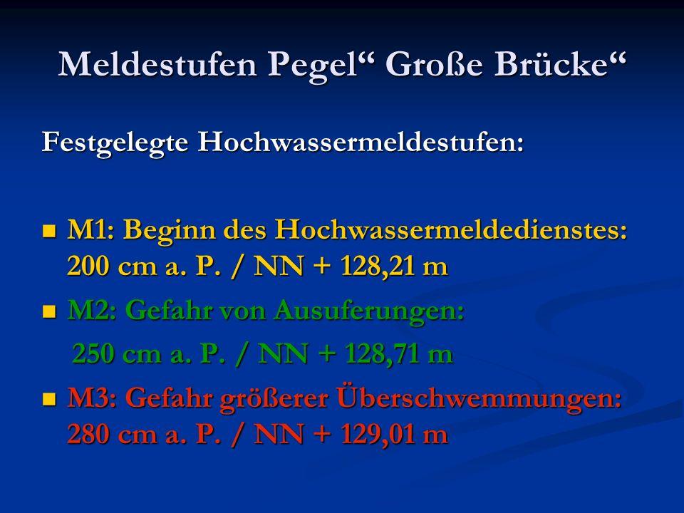 """Meldestufen Pegel"""" Große Brücke"""" Festgelegte Hochwassermeldestufen: M1: Beginn des Hochwassermeldedienstes: 200 cm a. P. / NN + 128,21 m M1: Beginn de"""