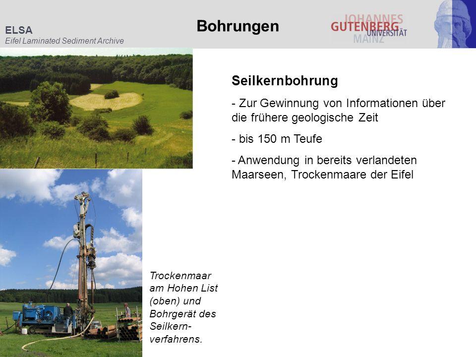 ELSA Eifel Laminated Sediment Archive Bohrungen Trockenmaar am Hohen List (oben) und Bohrgerät des Seilkern- verfahrens. Seilkernbohrung - Zur Gewinnu