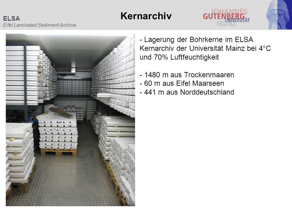 ELSA Eifel Laminated Sediment Archive Kernarchiv - Lagerung der Bohrkerne im ELSA Kernarchiv der Universität Mainz bei 4°C und 70% Luftfeuchtigkeit -