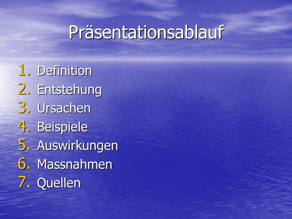 Präsentationsablauf 1. Definition 2. Entstehung 3. Ursachen 4. Beispiele 5. Auswirkungen 6. Massnahmen 7. Quellen