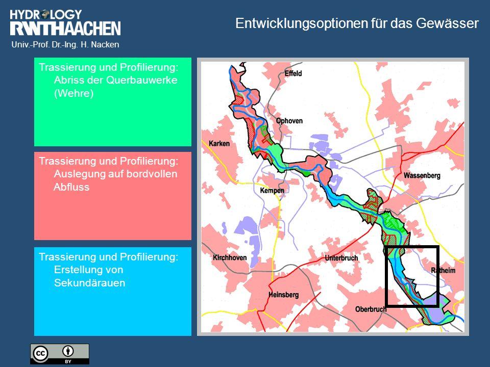 Univ.-Prof. Dr.-Ing. H. Nacken Trassierung und Profilierung: Abriss der Querbauwerke (Wehre) Trassierung und Profilierung: Auslegung auf bordvollen Ab