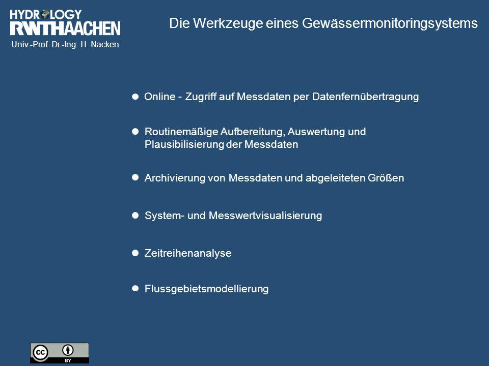Univ.-Prof. Dr.-Ing. H. Nacken Routinemäßige Aufbereitung, Auswertung und Plausibilisierung der Messdaten Archivierung von Messdaten und abgeleiteten