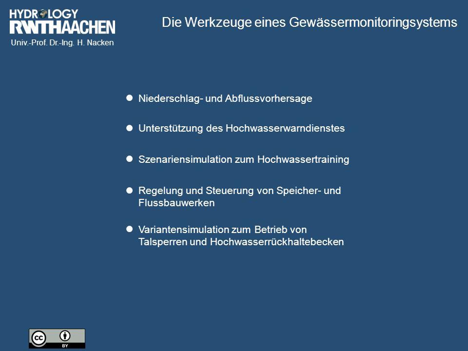 Univ.-Prof. Dr.-Ing. H. Nacken Niederschlag- und Abflussvorhersage Unterstützung des Hochwasserwarndienstes Szenariensimulation zum Hochwassertraining