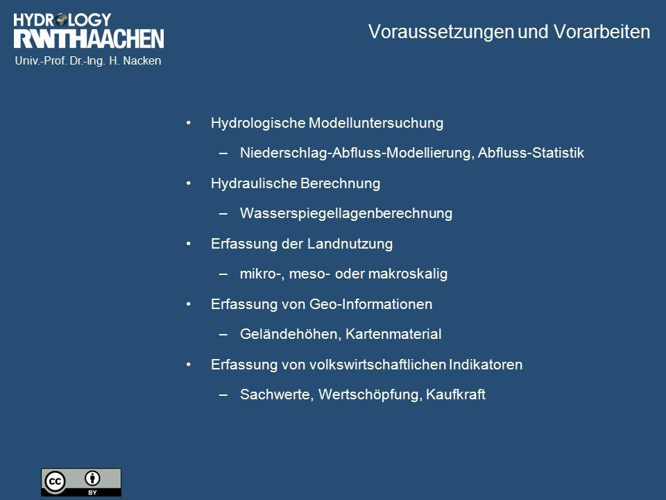 Univ.-Prof. Dr.-Ing. H. Nacken Voraussetzungen und Vorarbeiten Hydrologische Modelluntersuchung –Niederschlag-Abfluss-Modellierung, Abfluss-Statistik