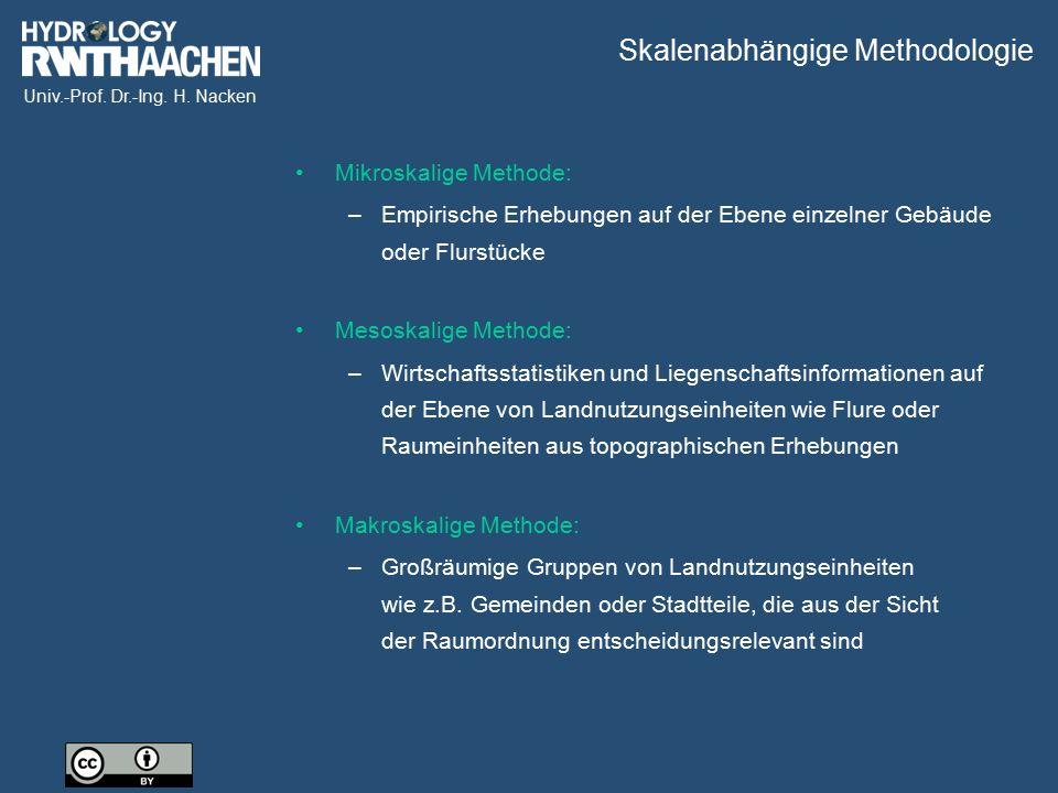 Univ.-Prof. Dr.-Ing. H. Nacken Skalenabhängige Methodologie Mikroskalige Methode: –Empirische Erhebungen auf der Ebene einzelner Gebäude oder Flurstüc