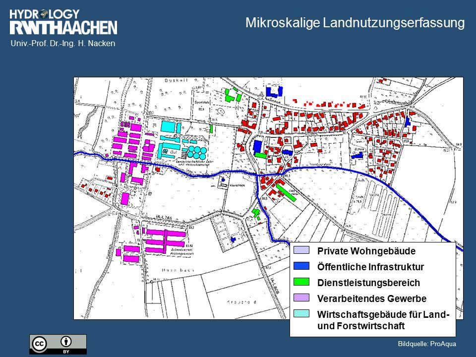Univ.-Prof. Dr.-Ing. H. Nacken Mikroskalige Landnutzungserfassung Private Wohngebäude Dienstleistungsbereich Verarbeitendes Gewerbe Öffentliche Infras