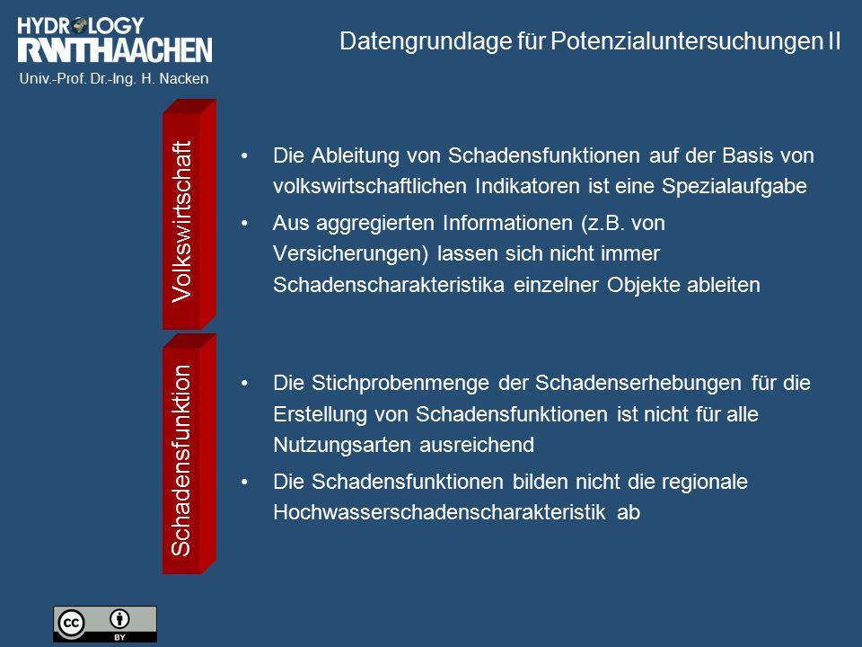 Univ.-Prof. Dr.-Ing. H. Nacken Datengrundlage für Potenzialuntersuchungen II Die Ableitung von Schadensfunktionen auf der Basis von volkswirtschaftlic