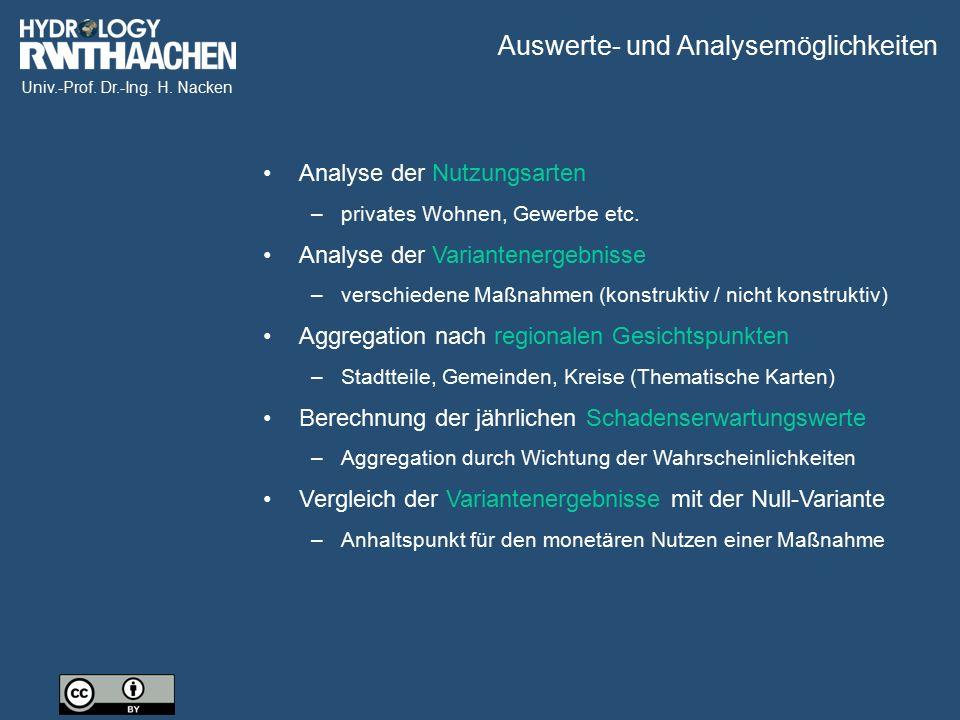 Univ.-Prof. Dr.-Ing. H. Nacken Analyse der Nutzungsarten –privates Wohnen, Gewerbe etc. Analyse der Variantenergebnisse –verschiedene Maßnahmen (konst