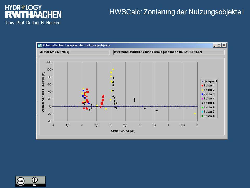 Univ.-Prof. Dr.-Ing. H. Nacken HWSCalc: Zonierung der Nutzungsobjekte I