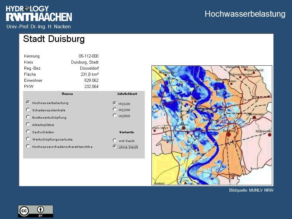 Univ.-Prof. Dr.-Ing. H. Nacken Wirkung der Hochwasserdeiche I Bildquelle: MUNLV NRW