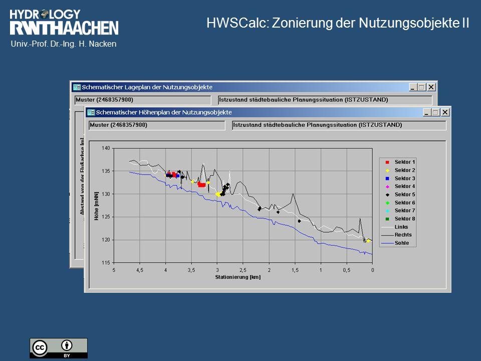 Univ.-Prof. Dr.-Ing. H. Nacken HWSCalc: Zonierung der Nutzungsobjekte II