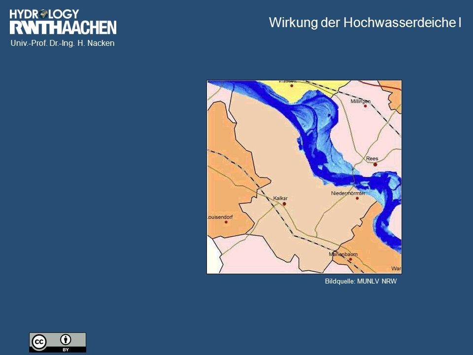 Univ.-Prof. Dr.-Ing. H. Nacken Wirkung der Hochwasserdeiche II Bildquelle: MUNLV NRW