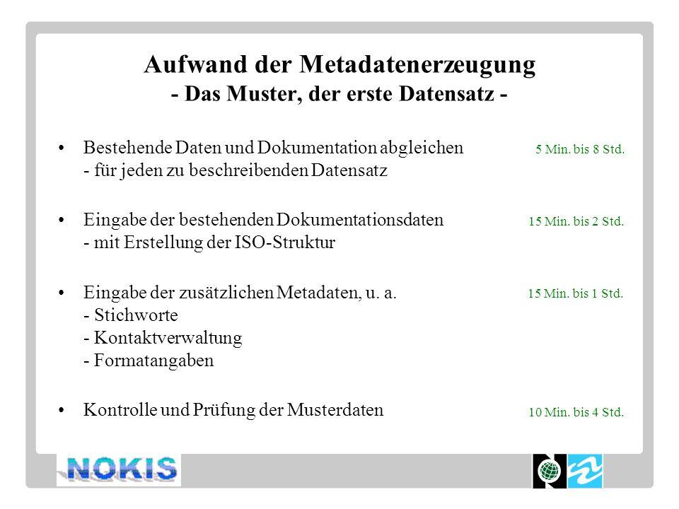 Aufwand der Metadatenerzeugung - Das Muster, der erste Datensatz - Bestehende Daten und Dokumentation abgleichen - für jeden zu beschreibenden Datensatz Eingabe der bestehenden Dokumentationsdaten - mit Erstellung der ISO-Struktur Eingabe der zusätzlichen Metadaten, u.